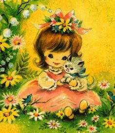 Vintage 1976  Greeting Card....with flowers in your hair just like your Mommy, Vylette <3