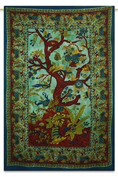 Tree Of Life Bohemian Tapestry Hippie Cotton Green Twin Wall Art 84X56 Indian Gift -- Amazon most trusted e-retailer  #Mandala