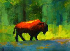 Lumbering Painting  by Nancy Merkle. This painting was inspired by a wandering bison in Yellowstone Park. The sun is dropping and the light glances off the greenery and the heavy coat of his lumbering shape.