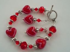 Red and Pink Valentines Heart Lampwork and by delicatecreationsbym, $16.00