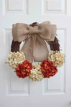 Fall Wreath READY TO SHIP! Orange and White Hydrangea flowers with Burlap bow on a Grapevine wreath
