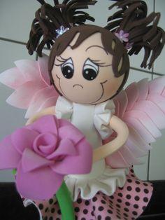 Anjo rosa marrom de EVA
