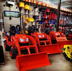 New Kubota tractors on display.