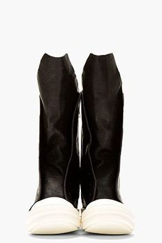 RICK OWENS Black Leather Ramones Boots: