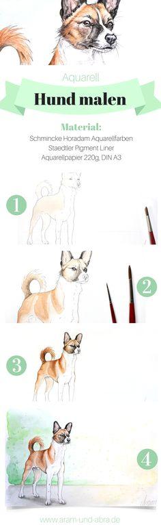 Schritt für Schritt: #Hund malen in Aquarell   Portrait   Zeichnen   DIY   Tipps   Anleitung   kreativ   Kunst   Tierportrait   Hunde   Basenji   Windhund   Aram und Abra   www.aram-und-abra.de