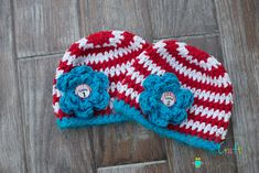 Dr Suess Cat in the Hat, Thing 1-Thing 1 Baby Crochet Beanies with removeable flowers - Ready to Ship. $35.00, via Etsy.