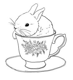 Embroidery transfer design.  Bunny rabbit in tea cup.