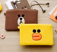 "7.8"" x 5.5"" Line Friends Brown Sally Pouch Fabric Phone Wallet Cosmetic Bag #LineFriendsSquarePouch"