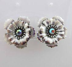 Coro Earrings Rhinestones AB Silver Clip On Backs Floral