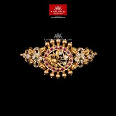 Stunning gold vanki designs by Kameswari Jewellers. Shop online from one of the foremost South India's traditional jewellers. Pearl Necklace Designs, Jewelry Design Earrings, Gold Earrings Designs, Gold Bangles Design, Gold Jewellery Design, Vanki Designs Jewellery, Bridal Jewellery, Gold Jewelry Simple, Simple Necklace