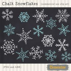 16 chalk snowflake clip art images in white, 8 in blue), offered in PNG format, and Photoshop ABR brush. Royalty Free and commercial use Chalk It Up, Chalk Art, Christmas Art, Christmas Decorations, Download Digital, Chalkboard Signs, Chalkboard Drawings, Chalkboard Lettering, Chalkboard Background