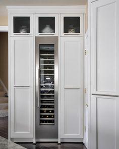 Wine Refrigerator, Wine Fridge, Full Fridge, Kitchen And Bath, New Kitchen, Kitchen Ideas, Kitchen White, Skinny Kitchen, Condo Kitchen