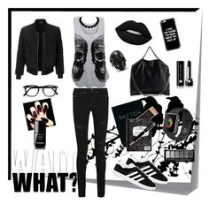 """""""Casual Goth 1"""" by denikills on Polyvore featuring moda, Post-It, LE3NO, Yves Saint Laurent, adidas, WearAll, STELLA McCARTNEY, Casetify, Marc Jacobs y Chanel"""