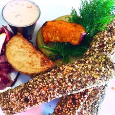 Tempeh Crusted UnFish & Baked Chips at Lettuce Love Cafe Burlington with vegan tartar sauce