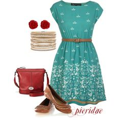 Who Doesn't Love Red and Teal?, created by pieridae on Polyvore