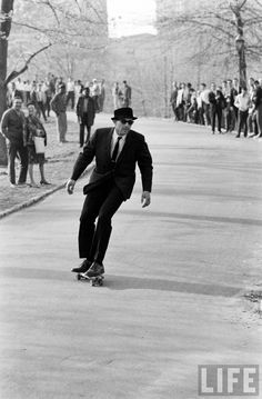 Skateboarding in NYC in the '60s. Classy.