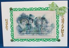 VINTAGE CHRISTMAS PEOPLE PYRAMIDS on Craftsuprint designed by Nick Bowley - made by Cheryl French - Printed onto glossy photo paper. Matted onto green card with punched edges. Attached to card stock using ds tape. Built up image with 1mm foam pads. Added green craft candi to corners of the matting and vertical peel off text. - Now available for download!