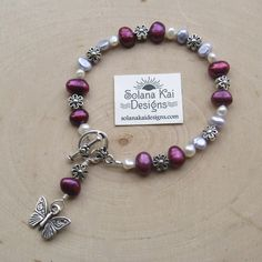 """Deep Pink, Blue, White Freshwater Pearl, Flower, Butterfly Bracelet 7"""" 