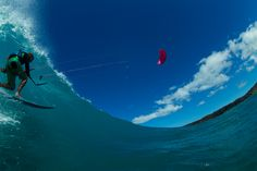 Fish eye magic with the 2016 North Neo. Get into the right surfer perspective with this great shot by Quincy Dein. North Kiteboarding, Windsurfing, Wakeboarding, Paragliding, Bintan Island, Sup Surf, Big Challenge, Water Photography, Big Waves