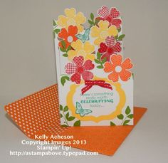 The easiest Cascading Card tutorial ever! No measuring at all!!! Stampin' Up! Kelly Acheson
