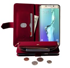 Monica [ZIPPER POUCH] Premium Leather [STANDING] [CARD SLOT] Flip Cover Wallet #Case for #GalaxyS6 Edge Plus (Red)