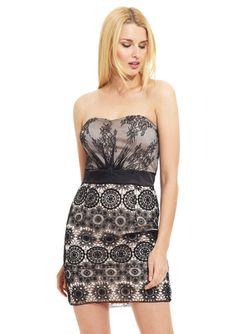 ALEXIA ADMOR Geometric Lace Overlay Dress $119.99