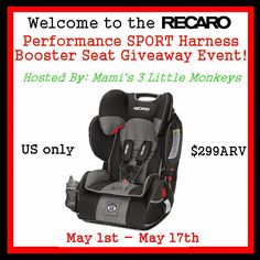 #Win a RECARO Performance SPORT Harness Booster Seat in Vibe! Ends 5/17 - Life of a Southern Mom