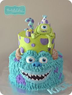 Monster's Inc. 3rd Birthday, Birthday Parties, Birthday Cakes, Birthday Ideas, Pumpkin Cheesecake Cupcakes, Bolo Original, Monster Inc Cakes, Monster Inc Birthday, Cupcake Shops