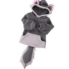 Tops ,BeautyVan Child Cartoon Design Fox Baby Hooded Boy Girl Jacket Outwear Coats Kids Clothing (12M, Gray)