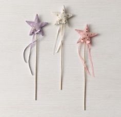 RH baby&child's Wool Felt Wand:Crafted of merino wool, our felted star wand is simply magical. With gold sequins and a ribbon bow at the base, the wand is nothing short of enchanting.