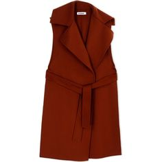 Jil Sander Coat (10.395 RON) ❤ liked on Polyvore featuring outerwear, coats, brown, jil sander, long sleeve coat, lapel coat, brown coat and flannel coats