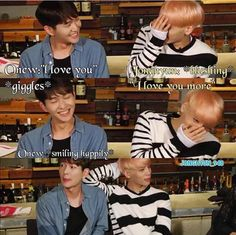 """SHINee. When Onew and Jonghyun be like; """"I love you."""" No """"I love you more."""" Then that's appears to be too mushy so they go back to being manly..I guess:) Anyway they're Cute:)"""