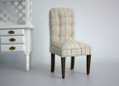 Dollhouse wooden dinning chair dolls house wood chair 1:12th scale min