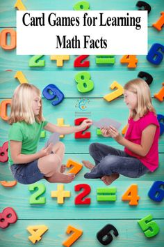 Fun Card Games for Learning Math Facts. Math card games are a fantastic way for kids to practice math skills. Kids love learning through play! Math Card Games, Card Games For Kids, Learning Games For Kids, Educational Activities For Kids, Math For Kids, Fun Math, Math Activities, Children Games, Dice Games