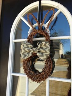 Easter Bunny Burlap Wreath by BurlapBelle on Etsy, $40.00
