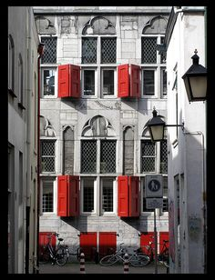 This photo from Utrecht, South is titled 'Red windows'. Red Windows, The Hague, Facade House, Utrecht, Color Pop, Colour, Great Places, Netherlands, Dutch