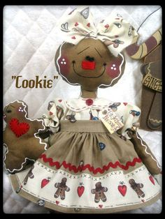"Primitive NEW Raggedy Gingerbread Doll ""COOKIE"" ♥♥ from Ginger Creek Crossing"