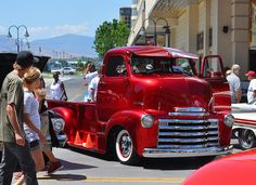 candy apple cab-over chevy truck