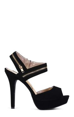 Deb Shops Platform Pump with Peep Toe and Zipper Ankle Strap $27.67