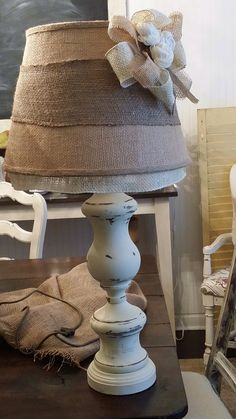 Burlap lamp shades would be cute with some kind of stencil on it burlap lamp shade aloadofball Choice Image