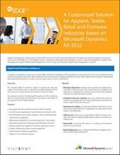 EdgeAX harnesses the unique power of Microsoft Dynamics AX with customized features that streamline essential apparel business processes at an affordable cost. The EdgeAX solution comprises of Retail Business Intelligence, Product Lifecycle Management, Supply Chain Management, Supplier Relationship Management, Point of Sale, and Customer Relationship Management modules.