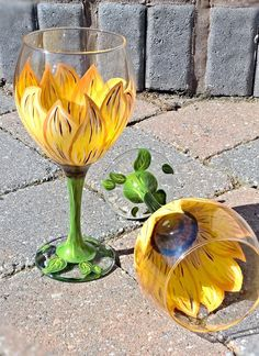 Hand Painted Sunflower Wine Glass Can be by JeaninesBowtique                                                                                                                                                                                 Más