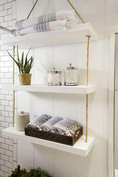 - SHW Home Decor Diy hanging shelves for small bathroom storage solutions. Bathroom Shelves Over Toilet, Bathroom Shelf Decor, Bathroom Storage Shelves, Budget Bathroom, Bathroom Ideas, Basement Bathroom, Bathroom Cabinets, Bathroom Vanities, Bathroom Designs