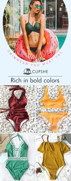Celebrate the season with highly recommended swimsuits. For a big beach trip, try cool colors to match swimming-pool or blue sea. Here you can find hot pieces as you want.