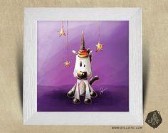 Cadre carré 25x25 cadeau Noël avec Illustration Bébé licorne