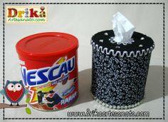 Porta papel higiênico para mesa feito com lata de Nescau