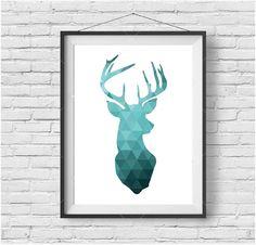 Turquoise Dear Head Print Teal Deer Wall Decor Geometric Deer Poster Teal Wall Art Triangle Deer Art Deer Home Decor Teal Decor Nursery Art