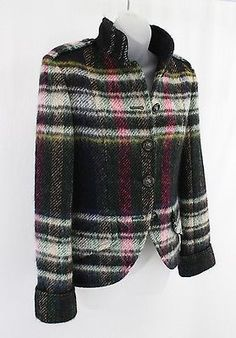 CHANEL-BLACK-MULTI-COLOR-STAND-UP-COLLAR-JACKET-COAT-36-4-NWT