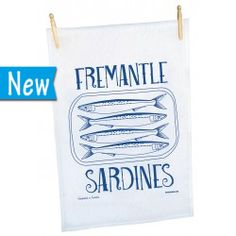 Freo Sardines Teatowel Australian Gifts, Tea Towels, Children, Handmade, Shopping, Design, Women, Souvenir, Young Children