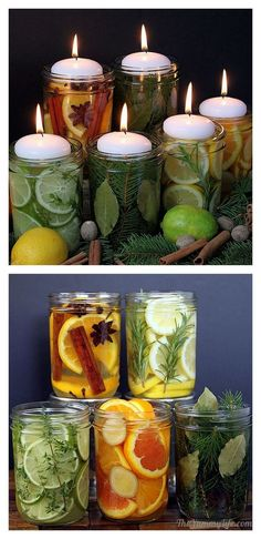 Natural Room Scent Jars: Orange, Cinnamon, Cloves * Lemon, Rosemary, Vanilla * Lime, Thyme, Mint, Vanilla * Orange, Ginger, * Almond Pine, Bay Leaves, Nutmeg